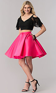 Image of two-piece short prom dress with lace bodice. Style: TE-2330 Detail Image 1