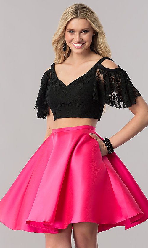 Image of two-piece short prom dress with lace bodice. Style: TE-2330 Front Image
