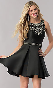 Jeweled Neckline Short Homecoming Dress