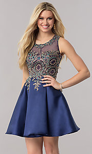 Short Navy Blue Satin Homecoming Party Dress
