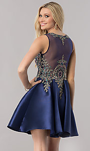 Image of short navy blue satin homecoming party dress. Style: TE-2210 Back Image