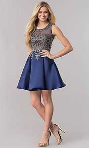 Image of short navy blue satin homecoming party dress. Style: TE-2210 Detail Image 1