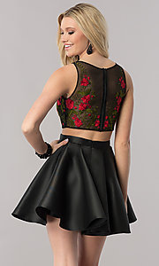 Image of two-piece black homecoming dress with embroidery. Style: TE-2206 Back Image