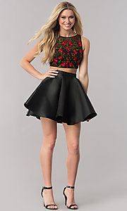 Image of two-piece black homecoming dress with embroidery. Style: TE-2206 Detail Image 1