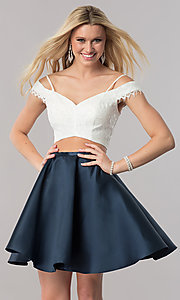 Image of two-piece off-the-shoulder short homecoming dress. Style: TE-2342 Front Image