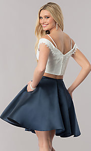 Image of two-piece off-the-shoulder short homecoming dress. Style: TE-2342 Back Image