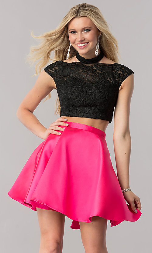 Image of two-piece embroidered-mesh-top homecoming dress. Style: TE-2212 Front Image