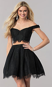 Two-Piece Lace Homecoming Dress with Bustier Top