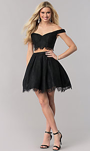 Image of two-piece lace short party dress with bustier top. Style: TE-2316 Detail Image 1