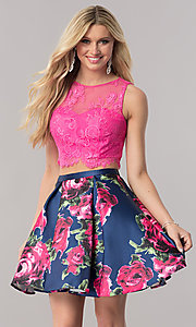 Image of two-piece short homecoming dress with pink lace top. Style: TE-2320 Front Image