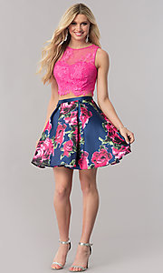 Image of two-piece short homecoming dress with pink lace top. Style: TE-2320 Detail Image 1