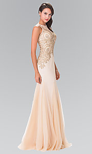 Long Illusion V-Neck Embroidered Prom Dress