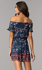 Image of short casual navy print party romper with sleeves. Style: MY-9428HH1D Back Image