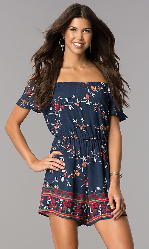 Image of short casual navy print party romper with sleeves. Style: MY-9428HH1D Front Image