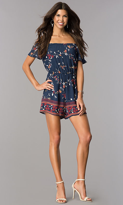 Image of short casual navy print party romper with sleeves. Style: MY-9428HH1D Detail Image 1