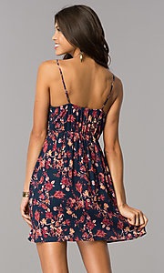 Image of short navy v-neck multi-print casual party dress. Style: MY-9501HH1D Back Image