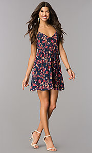 Image of short navy v-neck multi-print casual party dress. Style: MY-9501HH1D Detail Image 1