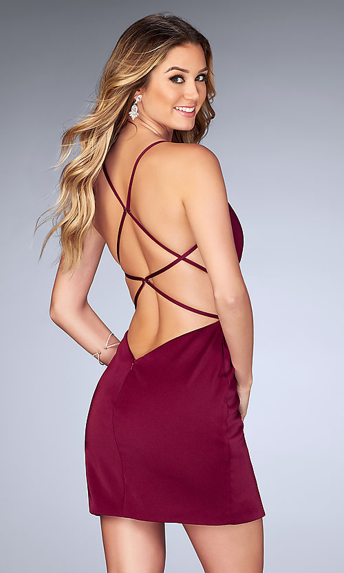 Image of mock-wrap open-back homecoming dress with ruching. Style: LF-25127 Front Image