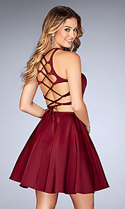 Lace-Up Back Two-Piece Homecoming Dress