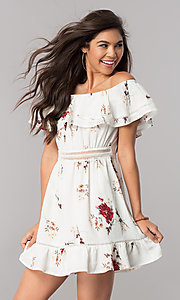 Floral-Print Casual Dress with Off-the-Shoulder Ruffle