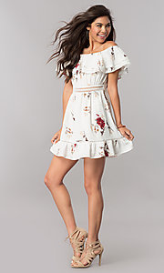 Image of floral-print casual dress with off-the-shoulder ruffle. Style: LT-LD6564 Detail Image 2