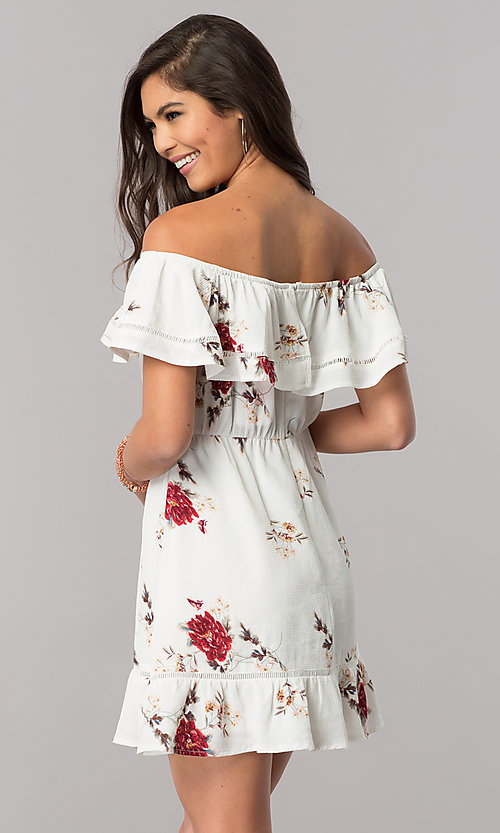 Image of floral-print casual dress with off-the-shoulder ruffle. Style: LT-LD6564 Back Image