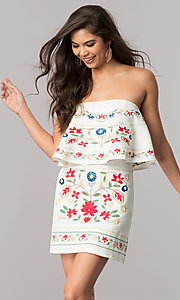 Short Strapless Embroidered Casual Dress with Ruffle