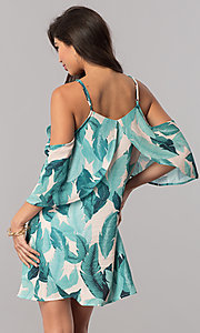 Image of short leaf-print cold-shoulder green casual dress. Style: LT-LD6589 Back Image