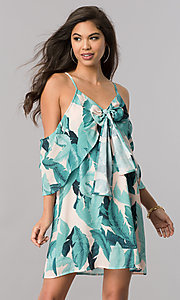 Image of short leaf-print cold-shoulder green casual dress. Style: LT-LD6589 Front Image