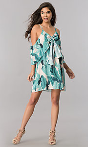 Image of short leaf-print cold-shoulder green casual dress. Style: LT-LD6589 Detail Image 1