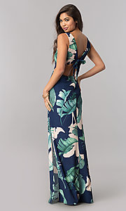 Image of long maxi print summer cruise dress with v-neckline. Style: LT-LD6502 Back Image