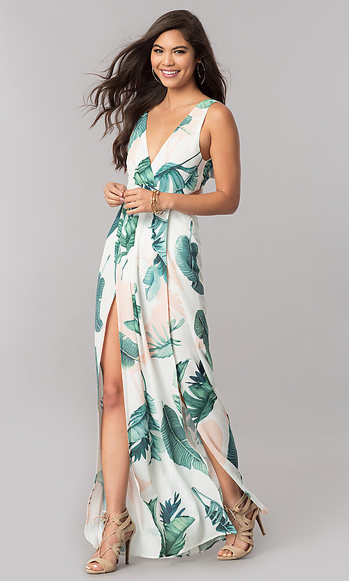 Image of long maxi print summer cruise dress with v-neckline. Style: LT-LD6502 Front Image