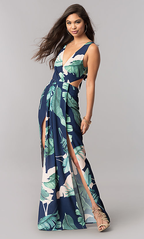 Image of long maxi print summer cruise dress with v-neckline. Style: LT-LD6502 Detail Image 1