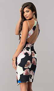 Image of knee-length floral-print wedding-guest dress. Style: LT-LD6487 Back Image