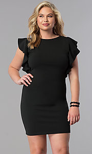 Plus-Size Short Party Dress with Ruffled Sleeves
