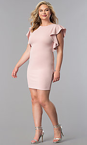 Image of plus-size short party dress with ruffled sleeves. Style: SY-XD-22095A Detail Image 1