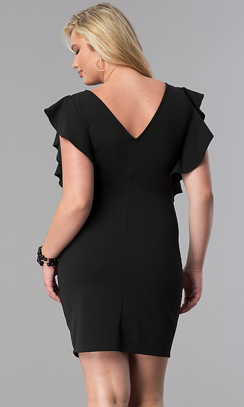 Image of plus-size short party dress with ruffled sleeves. Style: SY-XD-22095A Back Image