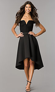 Image of strapless high-low wedding-guest dress with sleeves. Style: CL-45270 Detail Image 1