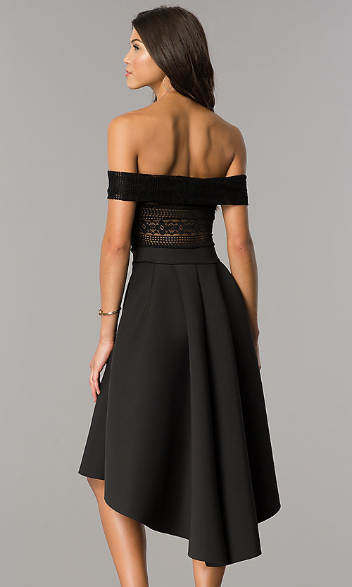 Image of strapless high-low wedding-guest dress with sleeves. Style: CL-45270 Back Image