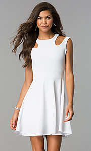 Short A-Line Sleeveless Party Dress with Cut Outs