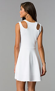 Image of short a-line sleeveless party dress with cut outs. Style: CH-2915 Back Image