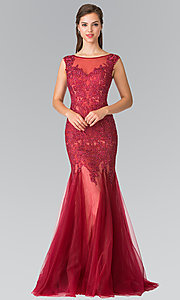 Embroidered Illusion Sweetheart Long Prom Dress