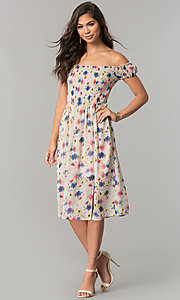 Image of off-the-shoulder floral-print casual chiffon dress. Style: MY-9498YD1D Detail Image 1