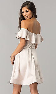Image of off-the-shoulder short party dress in blush pink. Style: MY-9458MB1C Back Image