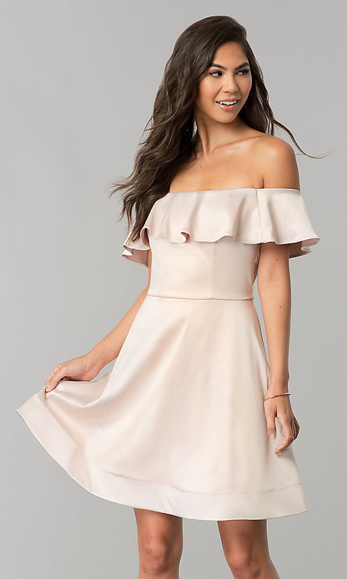 Image of off-the-shoulder short party dress in blush pink. Style: MY-9458MB1C Front Image
