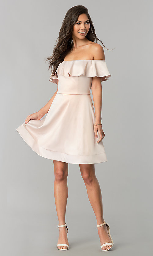 Image of off-the-shoulder short party dress in blush pink. Style: MY-9458MB1C Detail Image 1