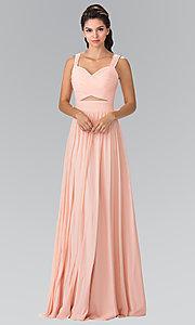 Long Chiffon Evening Dress with Sweetheart Neckline