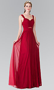 Image of long chiffon evening dress with sweetheart neckline. Style: FB-GL2366 Front Image