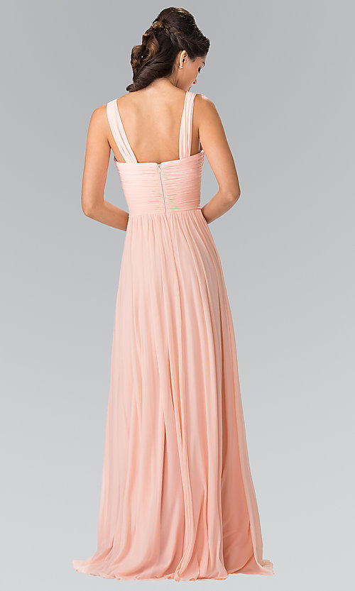 Image of long chiffon evening dress with sweetheart neckline. Style: FB-GL2366 Back Image