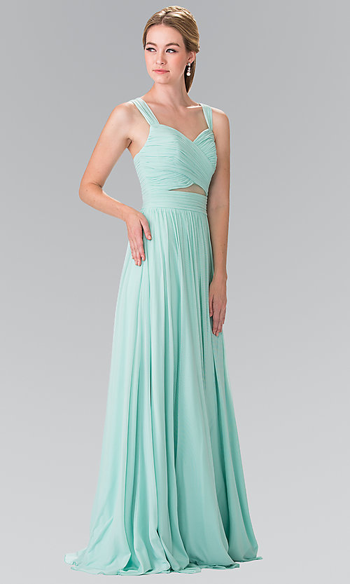 Image of long chiffon evening dress with sweetheart neckline. Style: FB-GL2366 Detail Image 1